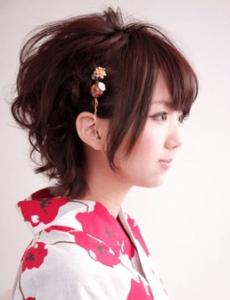 浴衣に合う髪型を簡単アレンジ画像集 ショート 9