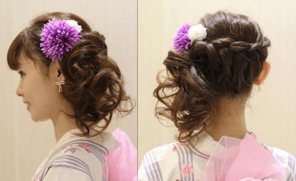 浴衣に合う髪型を簡単アレンジ画像集 編み込みと三つ編み 3
