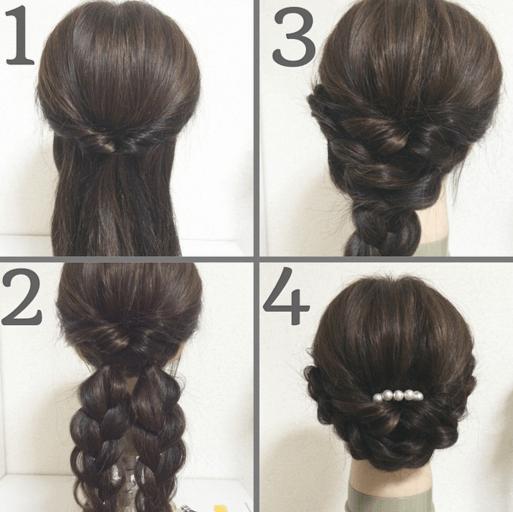 浴衣に合う髪型を簡単アレンジ画像集 編み込みと三つ編み 5