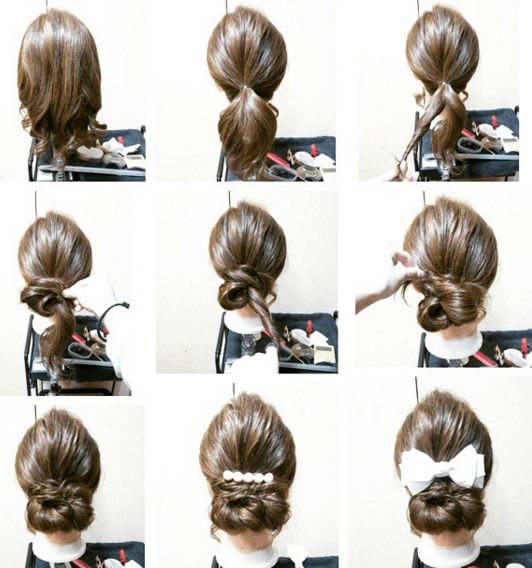 浴衣に合う髪型を簡単アレンジ画像集 セミロング 7